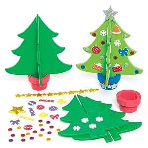 moosgummi bastelset 3d weihnachtsbaum f r kinder zum basteln und dekorieren 4 st ck amazon. Black Bedroom Furniture Sets. Home Design Ideas