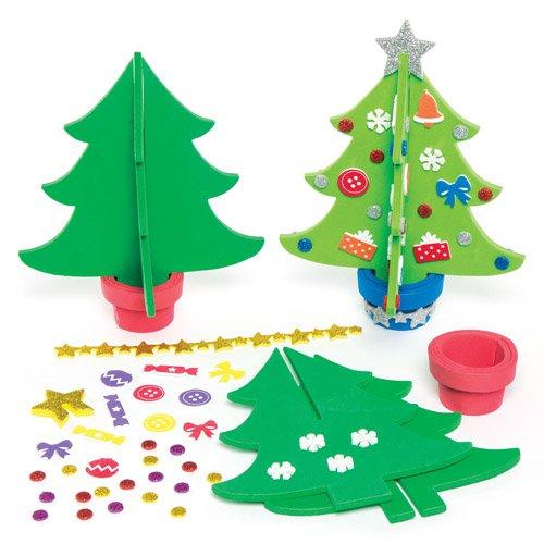 Kit alberi di natale 3d in gommapiuma per bambini da creare e decorare (confezione da 4)
