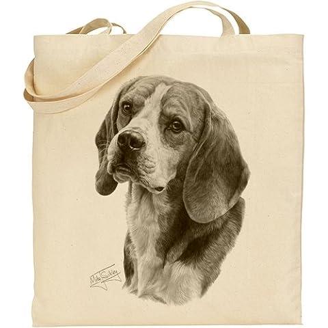 Sac en coton naturel avec impression beagle de Mike Sibley