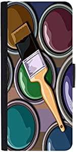 Snoogg Oil Painter 2452 Graphic Snap On Hard Back Leather + Pc Flip Cover Moto-G