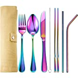 7 Pieces Portable Stainless Steel Flatware Set Travel Cutlery Silverware Set Reusable Utensils