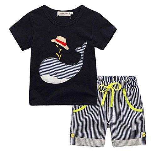 Kostüm Ungarn - FNKDOR Kinder 90-140 Jungen Cartoon T-shirt Tops + Gestreifte Shorts Outfit Kleidung Set (Höhe: 120 cm, Schwarz)