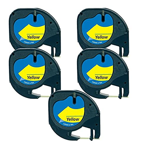 5 x Compatible Plastique Rubans Dymo LetraTag 91202 Noir sur Jaune (12mm x 4m) pour LetraTag LT110T,LT100H, LT100T, QX50 ,XR