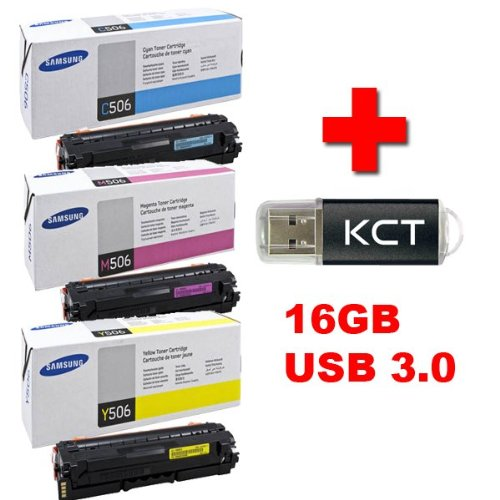 Samsung CLP 680DW original Tonerkit CLT - C506S / ELS (cyan) / CLT - M506S / ELS (magenta) / CLT - Y506S / ELS (gelb) + 16GB KCT USB 3.0 Stick (Usb-stick 16 Gb Samsung)