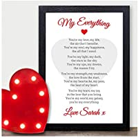My Everything Personalised Poem Valentines Gift Anniversary Wedding Him Her - PERSONALISED ANY NAMES for Anniversary, Birthday - Black or White Framed A5, A4, A3 Prints or 18mm Wooden Blocks