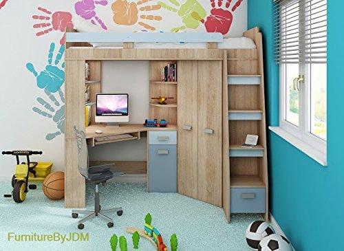 Hochbett/Etagenbett/Entresole – alle in einer rechts Ablesen Treppen – Kinder Möbel Set. Bett, Kleiderschrank, Regal, Schreibtisch Sonoma Oak - Sky Blue (Wand-bett Schreibtisch)