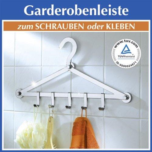 WENKO ProfiFIX Garderobe OHNE BOHREN - Handtuchhalter - Wandgarderobe - Flurgarderobe - Kleiderhaken - Handtuchhaken - Haken
