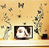 HALLOBO XXL Wandtattoo Blumenranke 1 Wandtattoo 3 Kombinationen Wandaufkleber Schmetterlinge Wandsticker Wall Sticker Wohnzimmer Schlafzimmer Deko