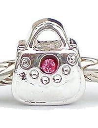 Rosa cristal Rhinestone bolso de mano cuenta para pulsera Fit plata pulseras estilo Pandora joyas