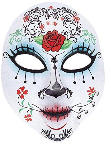 Widmann 05707 Maske Dia de los Muertos halb Gesicht aus Stoff für Erwachsene, (Halloween Bemalte Kostüme Gesichter)