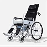 Shisky Folding lightweight with seated toilet for the elderly all lying wheelchair thickened steel tube front and rear four brakes light portable