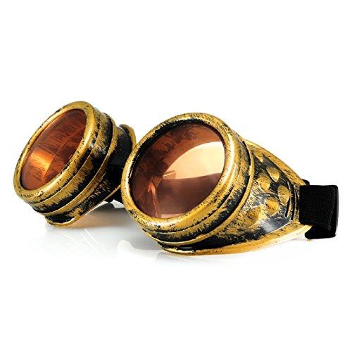 4sold Schutzbrille in Antik-Optik, Stil: Steampunk, Gothic, Cyber; Gold-Kupfer-Optik; Sonnenbrille, zusätzlich extraklare Gläsern