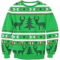 FOOBRTOPOO Novedad Navidad O-Cuello de Navidad Sudadera Deportiva Estampado de Jersey Otoño Invierno Cuello Redondo Outwear Tops Jerséis de Manga Larga Blusa -XL (Color : Green, tamaño : S)
