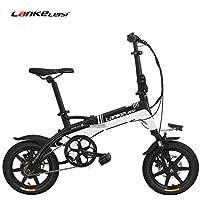 LANKELEISI A6 Elite 14 pulgadas bicicleta eléctrica plegable, 36V 8.7Ah batería de litio oculta