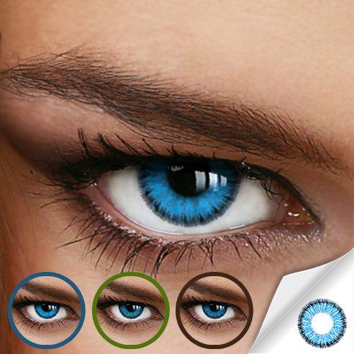Farbige Jahres-Kontaktlinsen Ocean Blue - MIT und OHNE Stärke in BLAU - von LUXDELUX® - mit Stärke (-5.50 DPT in Minus)
