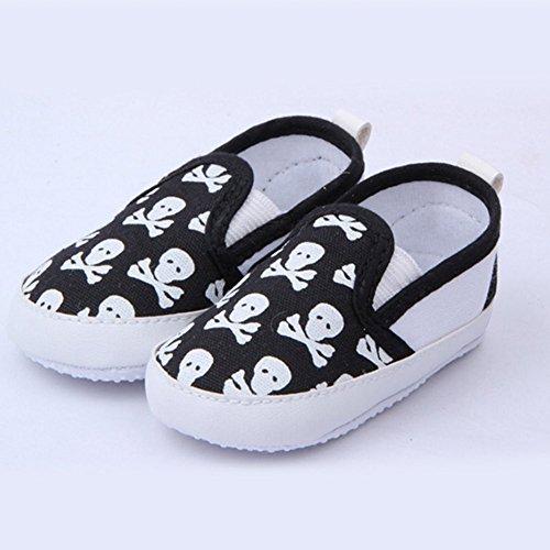 Silvercell Baby Junge Mädchen Kleinkind Kind Schädel weich alleinige Anti-Rutsch Prewalker Schuhe Schwarz