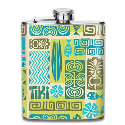 Werert Stainless Steel Flasks 7 Oz Hawaiian Tiki Tribal Mask Seamless Retro Tiki Pattern Whiskey Flask Hip Flask Leak Proof Wine Men Women