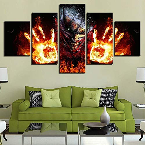 LAKHAFZY leinwanddrucke Bilder Frameless Feuerpalme nach Hause Wohnzimmer Esszimmer Schlafzimmer Dekoration fünf aufeinander folgenden Gemälden