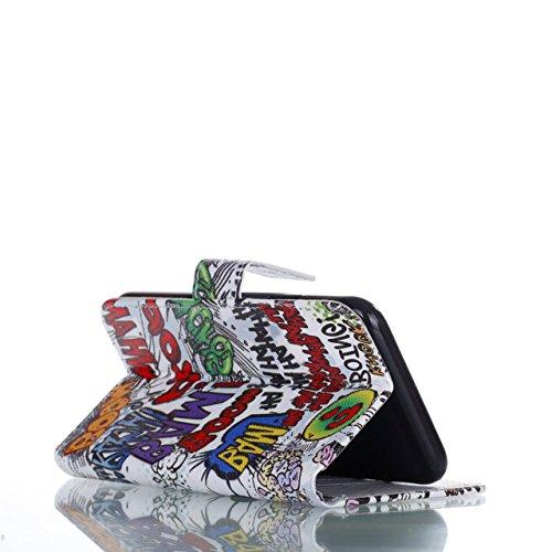Vandot Ultra Slim Per Iphone 8 Custodia in Pelle ,Portafoglio Porta Carte e Protettiva, Flip Case per Iphone 8 Cover + 1 X Hairball Cinturino + 1 X Penna-Tigre Bianca Dipinto 15