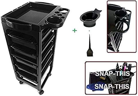 TekNoh Evolve - 6 Tier - EMO Salon Rolling Storage Trolley (with 2 x Tint Dye Colour Mixing Bowls and 1 x Brush) - Hairdressers Hairdressing Spa Hair Stylist Beauty Barber Cart Drawers Roller - (High Gloss Black
