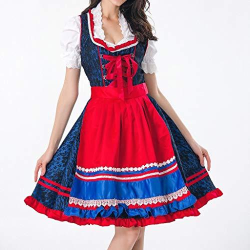 Kleider Damen Jumpsuits Hexenkostüm Damen Halloween-Kostüm Bierfest Mädchen Bar Cosplay Overalls Bühne Kostümparty Kostüm Party Rock (L, Rot)