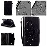 Tasche für Wiko Pulp 4G Hülle, Ycloud PU Ledertasche Flip Cover Wallet Case Handyhülle mit Stand Function Credit Card Slots Bookstyle Purse Design Schmetterling Blume Schwarz
