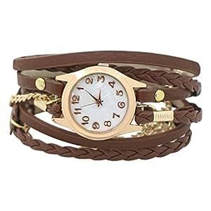 PromiseU Woman's Charming Vintage Weave Wrap Leather Chain Bracelet Watch