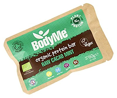 BodyMe Organic Vegan Protein Bar   Raw Cacao Mint   60g   With 3 Plant Proteins from BodyMe
