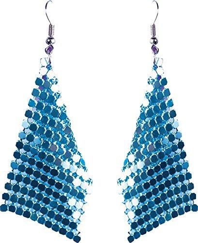 Damen 1970s Jahre Disco Partyzubehör Kostüm Schmuck Diamant Ohrringe - Blau, One size (1970's Kostüm)