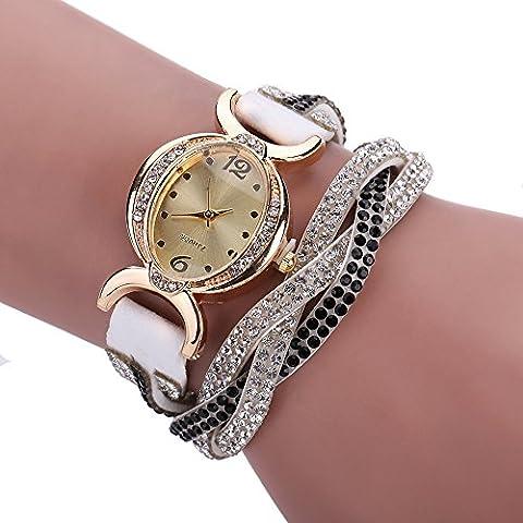 Mujer Rhinestone tejido Wrap reloj de muñeca Color blanco