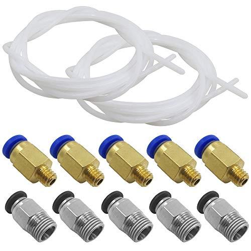 AFUNTA 2 piezas (2 metros/6,6 pies) Tubo de teflón PTFE & 5 piezas PC4-M6 & 5 piezas PC4-M10 accesorios compatibles todos 1.75 mm filamento PLA ABS impresoras 3D - (2,0 mm ID/4,0 mm OD)