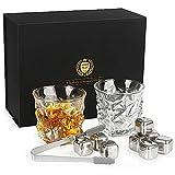 Kollea Whisky Set Geschenk, Whiskeygläser aus Kristall und Whiskey Steine- 2 Gläser und 8 Steine in Einem Samtbeutel Gute Geburtstage-und Weihnachtsgechenk für Männer