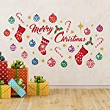 Wallflexi Christmas Decorations Wall Stickers  Merry Christmas Decoration Set Wall Murals Decals living Room Children Nursery School Restaurant Cafe Hotel Home Office Décor, multicolour