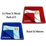 Bey Bee Waterproof Mattress Protector /Dry Sheet Combo of 2 -Small, Royal / Maroon