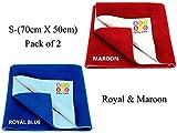 #10: Bey Bee Waterproof Mattress Protector /Dry Sheet Combo of 2 -Small, Royal / Maroon