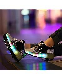 Zapatillas infantiles con ruedas y LED, color azul, rosa y negro