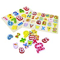 Nuheby Wooden Alphabet Puzzle for 3 4 5 Girls Boys-Puzzles Jigsaw Toys Letters Early Education Gift Learning Match and Spell Game for Kids Toddler