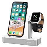 iVAPO Ladestation für iPhone und Apple Watch Series 3/ Apple Watch Series 3 with Cellular/ Apple Watch Series 2/ Apple Watch Series 1/ Apple Watch Nike + und iPhone 8, iPhone 8 plus, iPhone X, iPhone 6 Plus, iPhone 6, iPhone 7 Plus, iPhone 7, iPhone SE, iPhone 5 (ohne Kabel)(Silber)