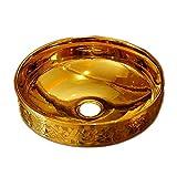 Controsoffitti della porcellana di arte scolpiti oro e lavandino del lavandino del bagno di ceramica del contatore del seminterrato soltanto