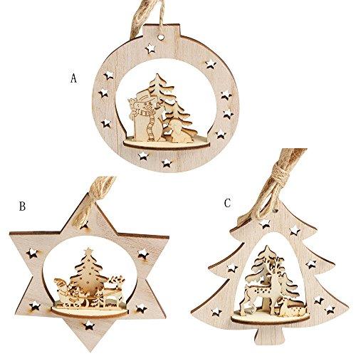 Natale ciondolo di legno decorazione,kword legno fiocco di neve a forma di albero di natale appeso ornamenti decorazioni rustico (3 pz)