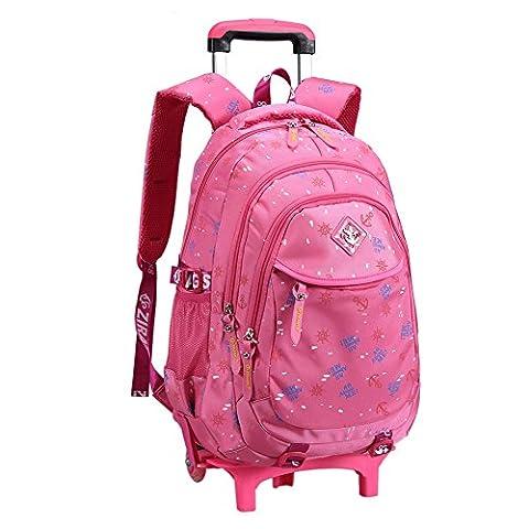 Schultasche Schulrucksack Trolley Kinderrucksack mit Rädern für Mädchen Kinder (Pink)