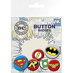 DC Comics - Superman, Batman, 4 X 25mm & 2 X 32mm Chapas Set De Chapas (15 x 10cm)