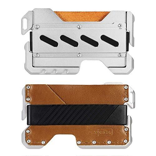 JEXICASE Kartenetui Kreditkartenetui Kreditkarten Herren mit RFID-Schutz Geldbeutel Geldklammer Männer Minimalistisch Wallet Braun B