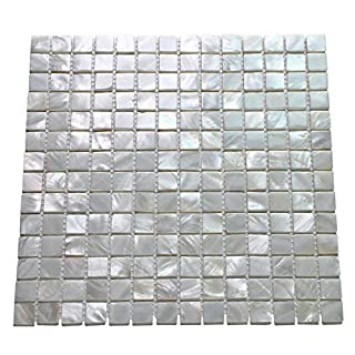 Art3d 6-Pack White Mother of Pearl Mosaic Tiles for Shower Walls 20mm Chips, 30cm X 30cm