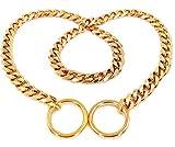 SLZZ Luxus Hundehalsband, Edelstahl Würgehalsbänder Verstellbare Schlange Metall Kragen Hund Ausbildung Halsbänder Halskette Haustier Hals Seil,Gold, breit 12 mm, 316L-Edelstahl, für Ihren Hund, Würge-Halsband