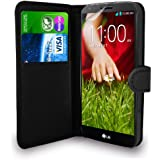 LG G2 D802 Black Leather Wallet Flip Case Cover Pouch + Screen Protector & Polishing Cloth