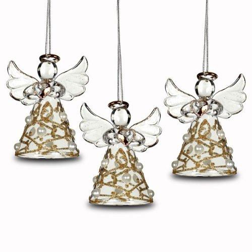 SIKORA BS240 Engel Christbaumschmuck Glas Figur Weihnachtsbaum Anhänger 3er Set -