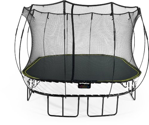 Springfree Trampolin S113 - Large Square 340 cm x 340 cm Reine Sprungfläche (entspricht 400 cm x 400 cm) inkl. Netz