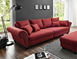 lifestyle4living Sofa, Couch, Big-Sofa, Stoffsofa, Wohnzimmersofa, Loungesofa, Wohnlandschaft, Relax-Couch, Wellenunterfederung, Microfaser, Webstoff, rot, kirschrot