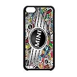 Cover per cellulare con stemma Mini Cooper e disegni di Stickerbomb, compatibile con iPhone 5C, BLACK CASE, iPhone 5c